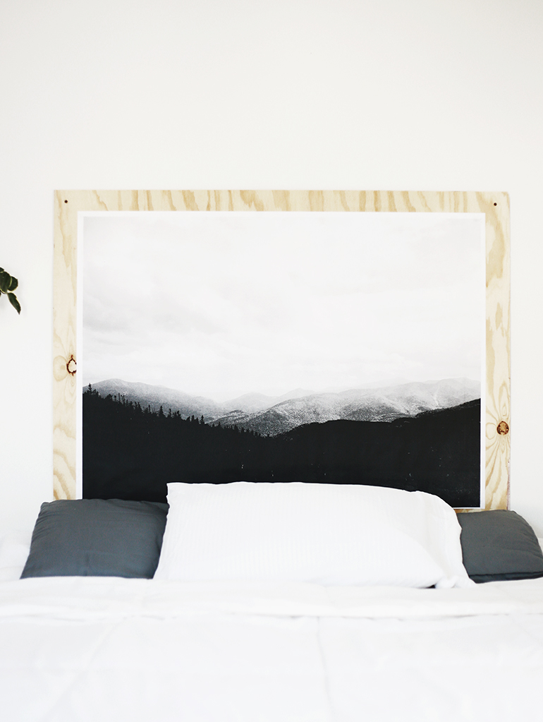 minimalist headboard with engineer print