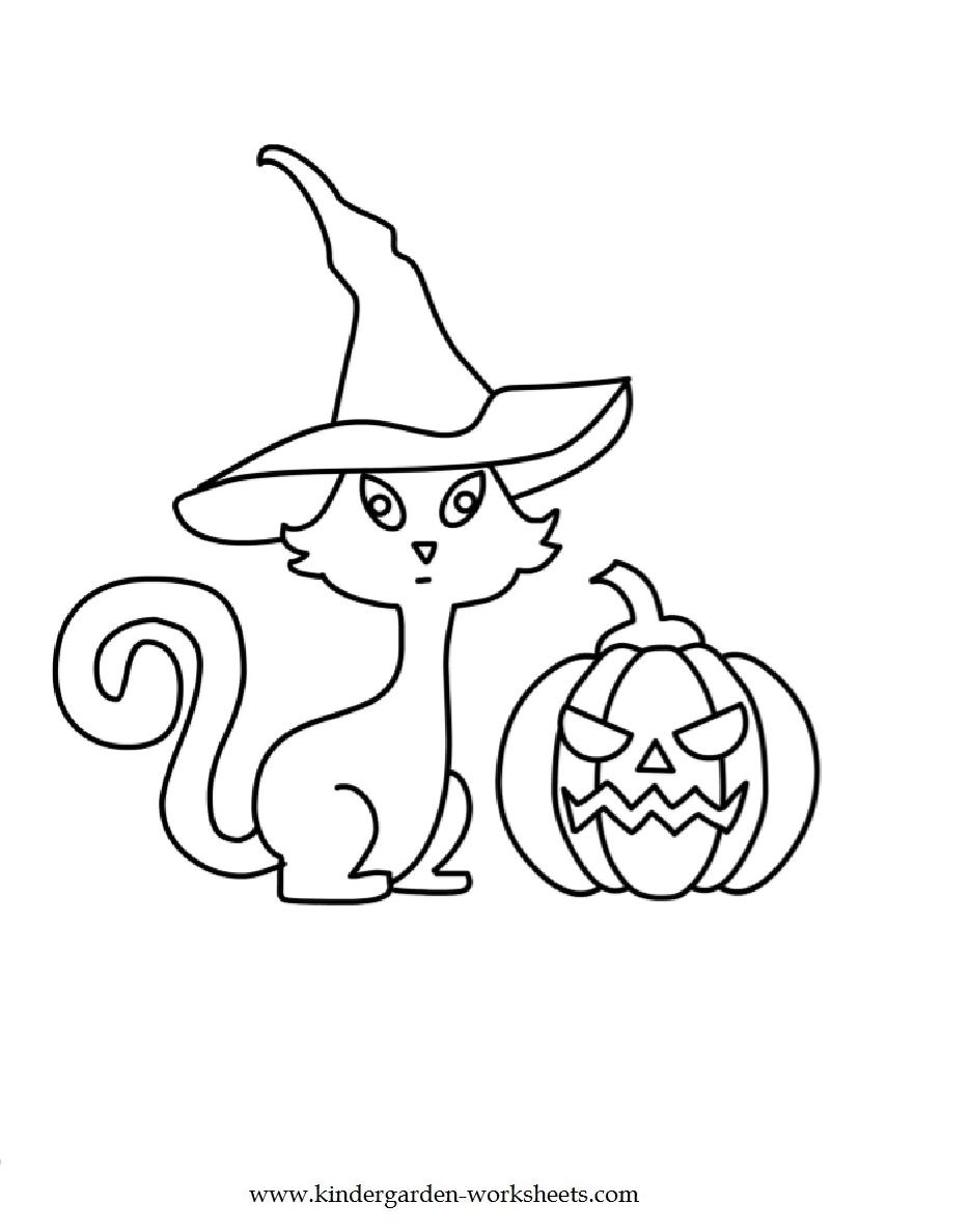 Kindergarten worksheets halloween coloring pages for Preschool halloween coloring pages