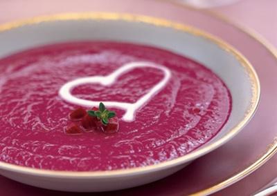 Roasted Beet Soup with Crème Fraîche