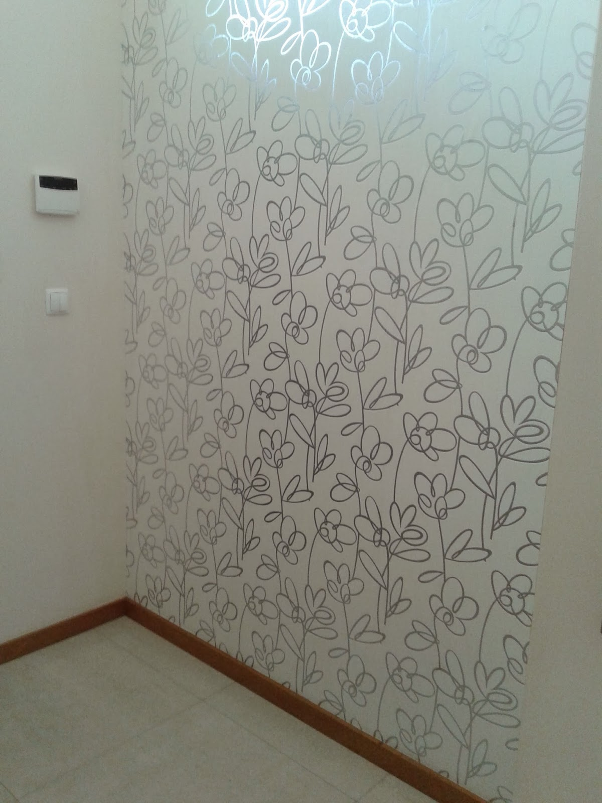 Aplica o de papel de parede papel de parede em hall de - Papel pared entrada ...