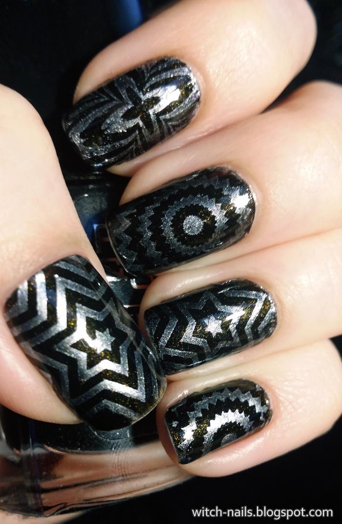 BP-11 BP11 black silver radiant stars manicure