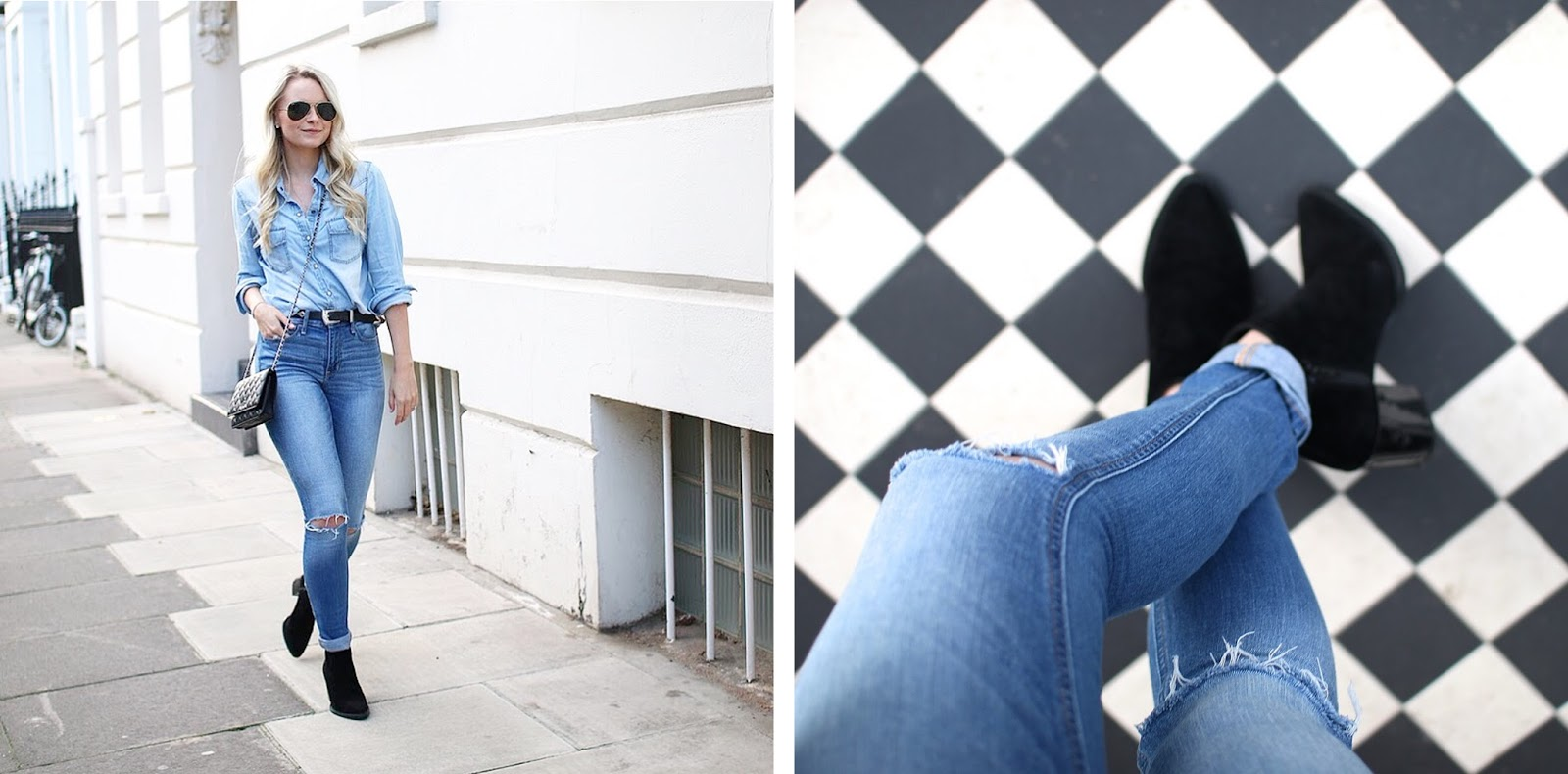view from the top of a chunky black boot on a blonde blogger in london