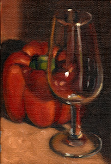 Oil painting of an ISO tasting glass in front of a red pepper.