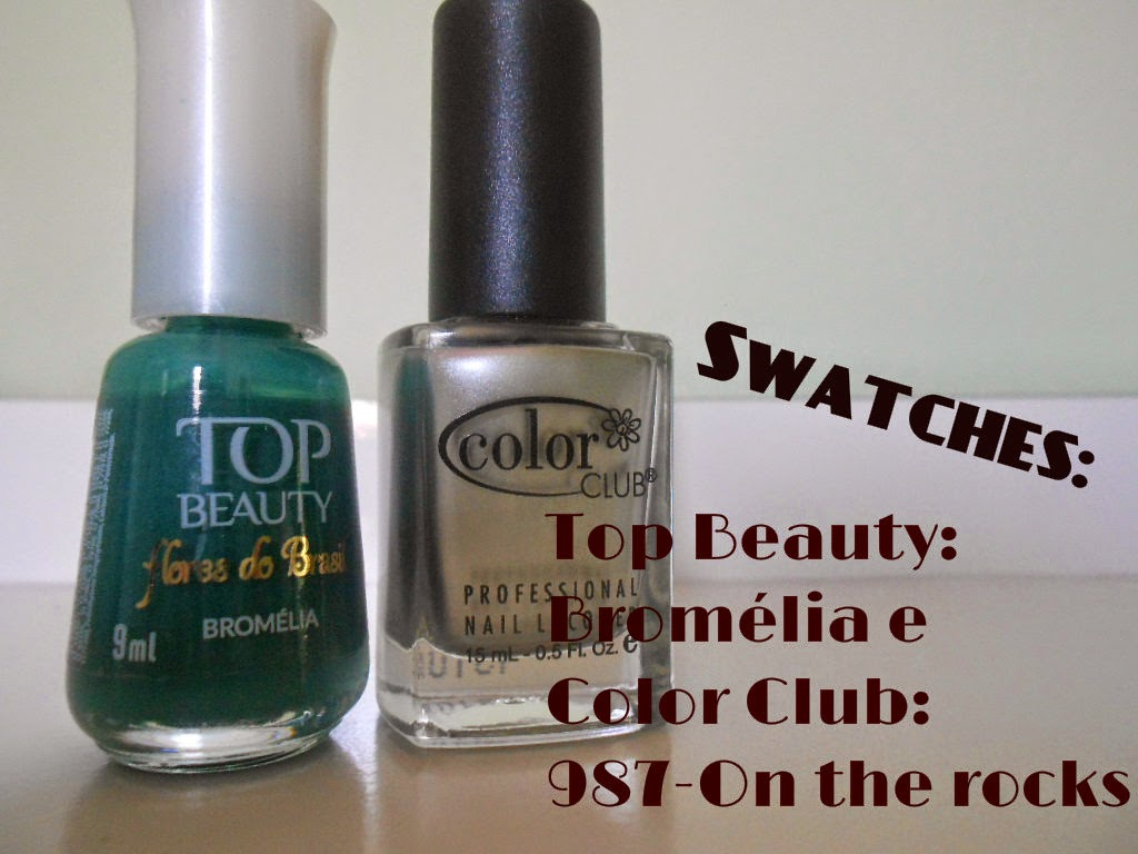 Swatches: Bromélia da Top Beauty e 987- On the rocks- Color Club