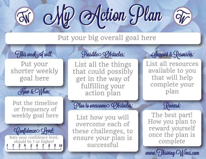 Action Plans {Free Printable Template} | THRIVING WIVES