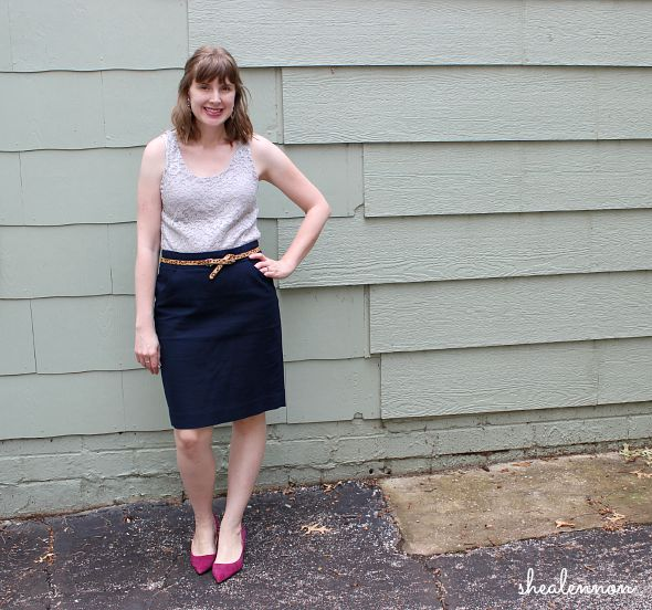 lace top with navy pencil skirt and heels for date night | www.shealennon.com