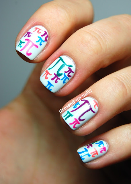 Dressed Up Nails - pi symbol nail art