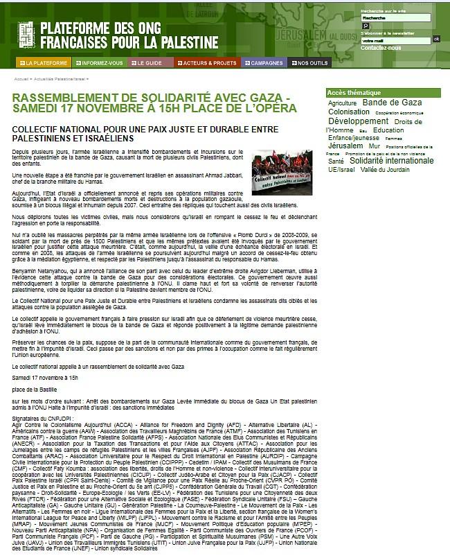 Comparons Avec Le Rassemblement En Solidarit Gaza Contre Lattaque Isralienne Sur Du Samedi 17 Novembre 2012 Linitiative De La