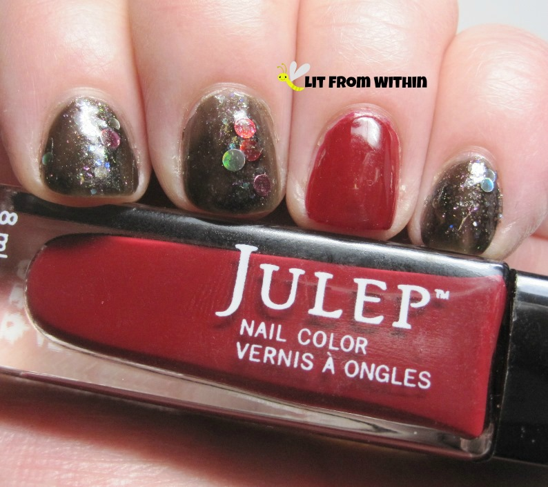 gorgeous black jelly with holo rainbow circle glitters is Jindie Nails Midnight Rainbow