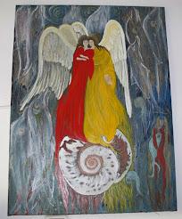 """Νότα Κυμοθόη """"Συνδημιουργία""""Ελαιογραφία σε μουσαμά"""