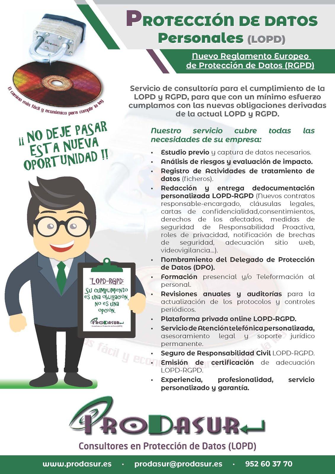 Ofertas especiales Adaptación a la LOPD hasta 31/07/2018. Llámanos.