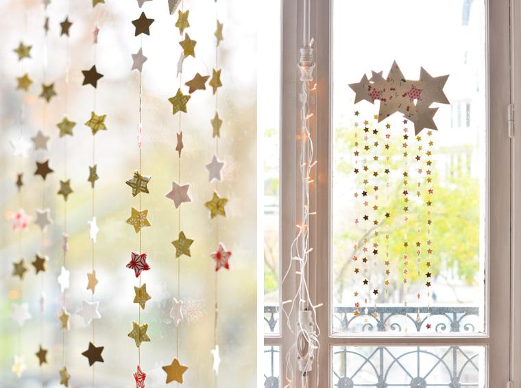 Diy navidad m vil de estrellas y papel decorativo o washi - Cortinas de papel para navidad ...