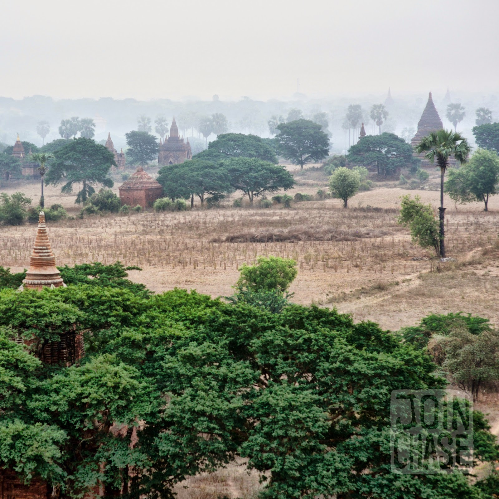 Sunrise over temples of Old Bagan, Myanmar.