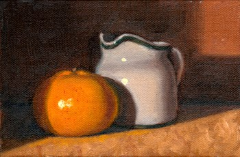 Oil painting of a mandarine beside a white porcelain milk jug.