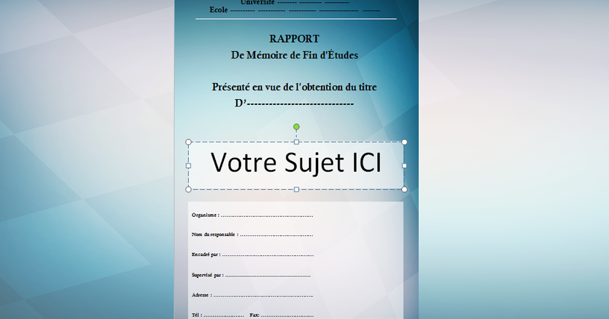 doc  exemple page de garde word pour un rapport pfe