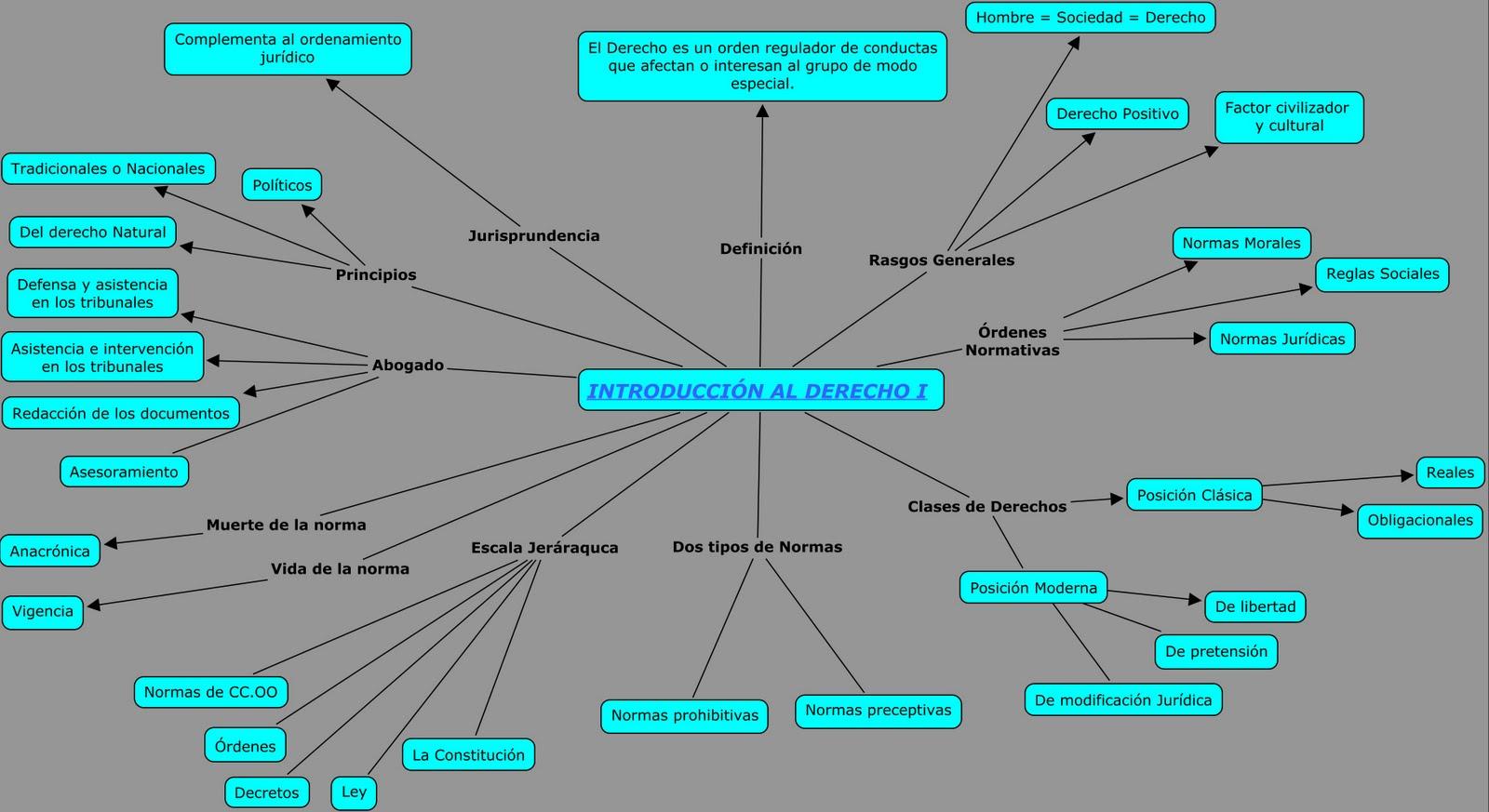 MAPAS CONCEPTUALES: MAPA CONCEPTUAL INTRODUCCIÓN AL DERECHO I