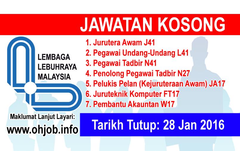 Jawatan Kerja Kosong Lembaga Lebuhraya Malaysia (LLM) logo www.ohjob.info januari 2016