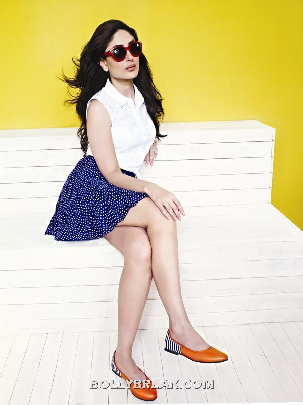 Kareena kapoor sitting cross legged in mini skirt - Kareena kapoor Latest Metro Shoes Ad - Blue Min Skirt