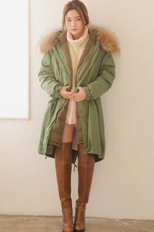 Drawstring Adjusted Fur Trim Coat