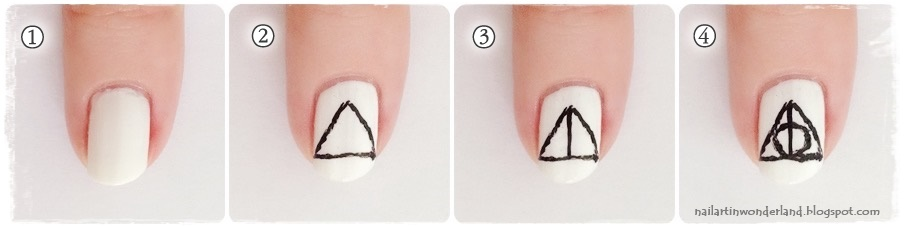 Harry Potter Nail Art - Deathly Hallows