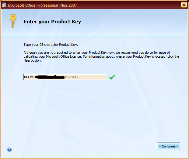 product key office 2007 professional