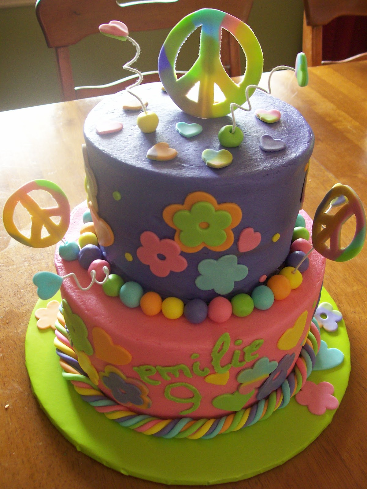 peace birthday cakes for girls