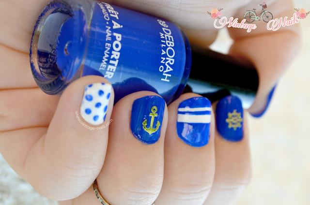 nail art, manicura, manicura marinera, mix&match, Deborah Milano, China Glaze, anchor, ancla