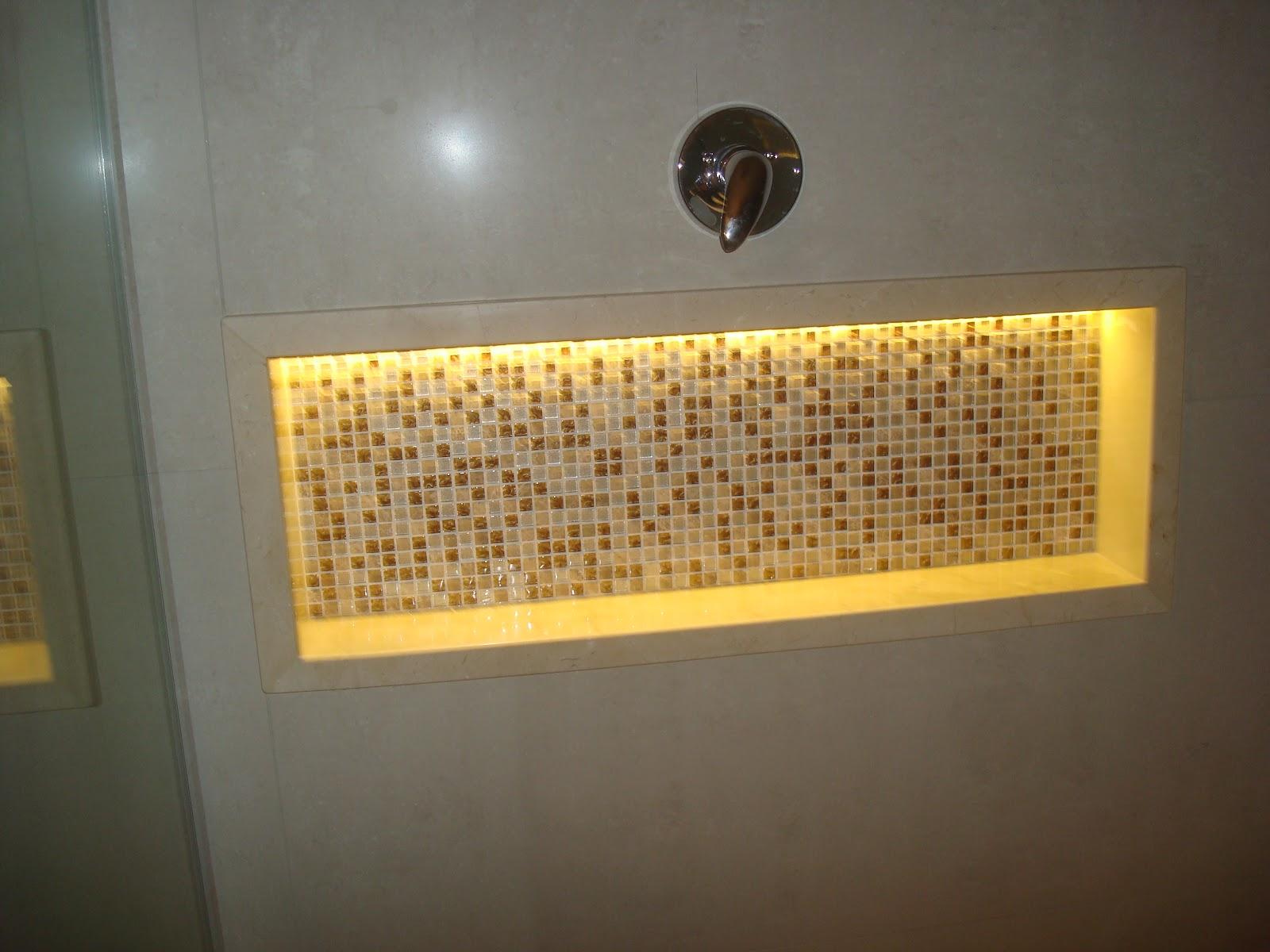 Construindo um Castelinho Banheiro Crema Marfil -> Nicho De Banheiro Iluminado