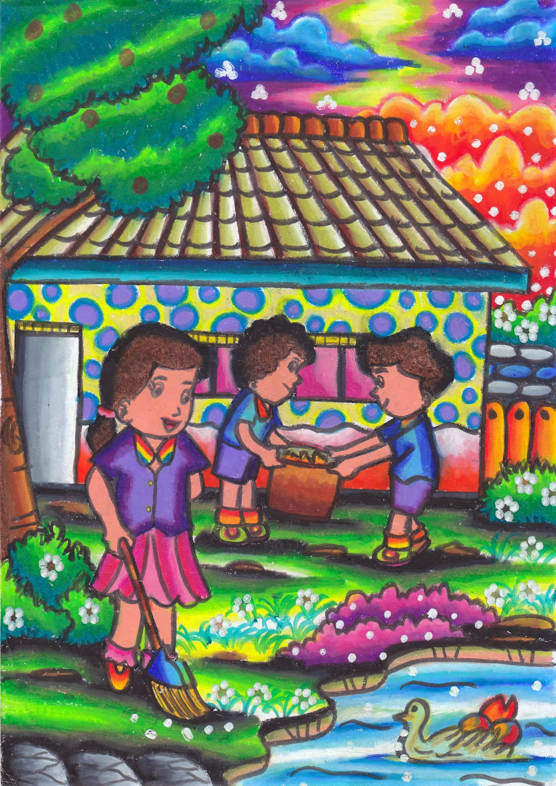 Mewarnai Gambar Anak anak Pemburu piala Lareyna Zahira dari SDNU 1 Trate Gresik