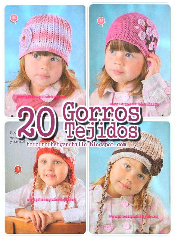 20 modelos de gorros tejidos crochet y dos agujas