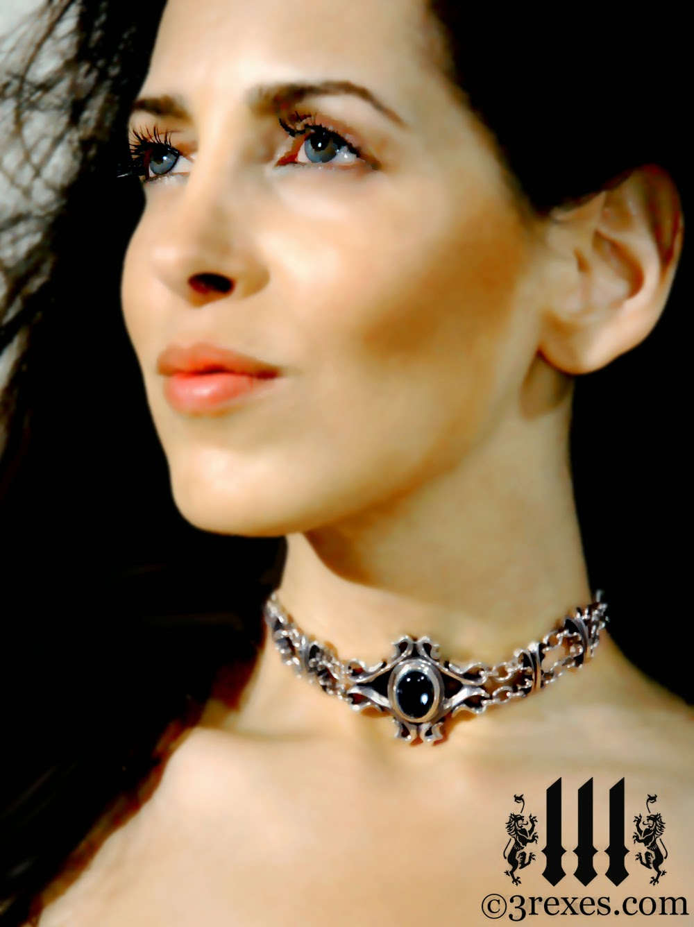empress black onyx choker gothic silver necklace