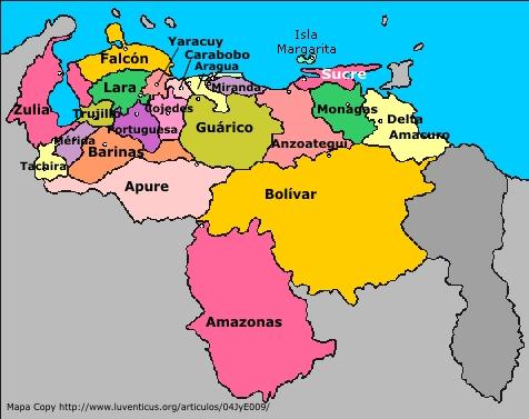 mapa de venezuela y sus estados