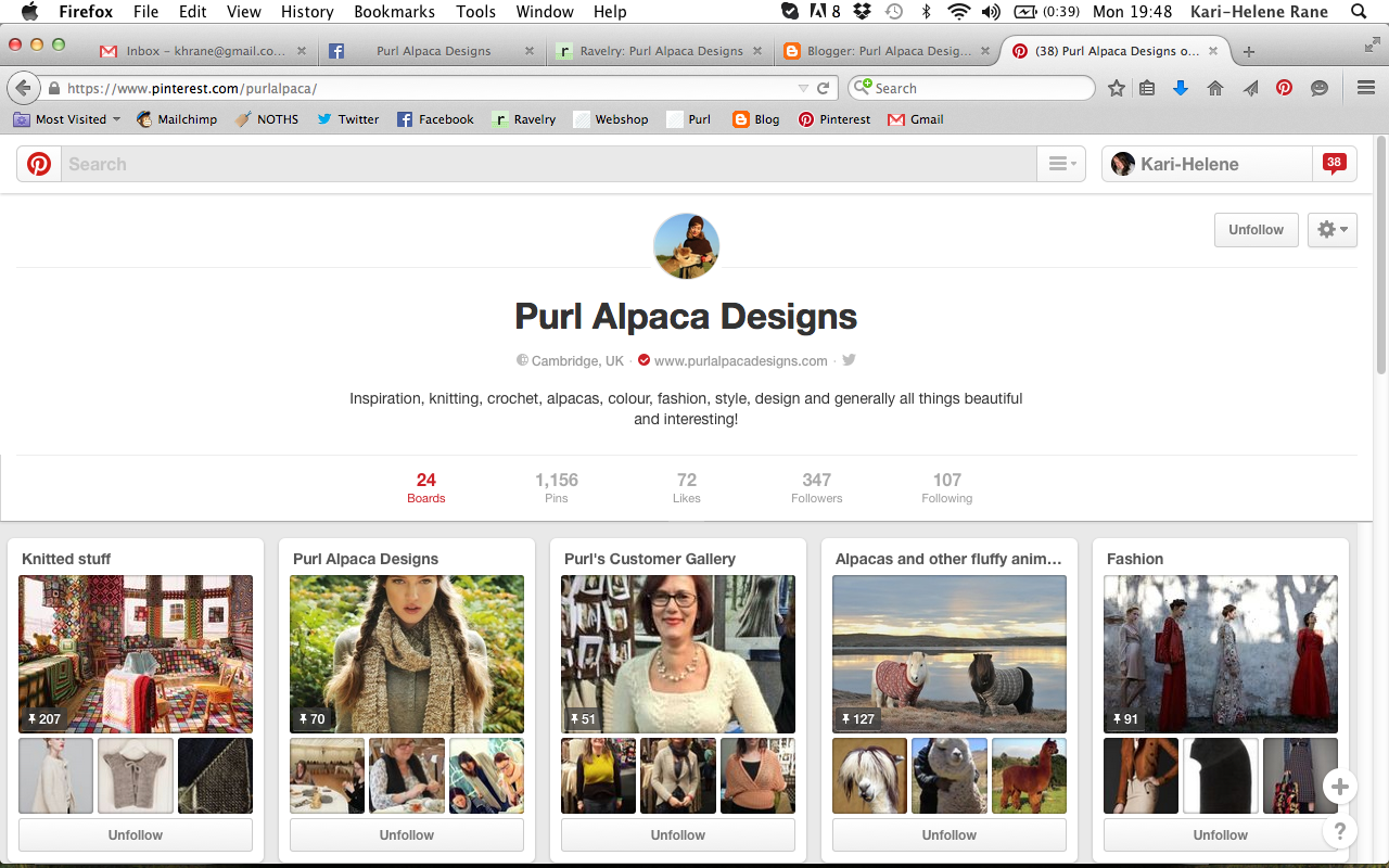 Pinterest profile for Purl Alpaca Designs