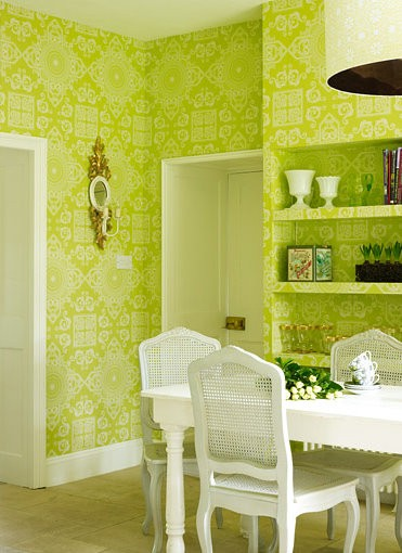 Lime green wallpaper for kitchens for Apple green living room ideas
