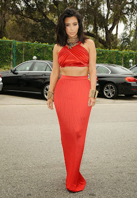 Kim Kardashian hot in sexy red dress at Roc Nation Pre-GRAMMY 2015 Brunch in Beverly Hills