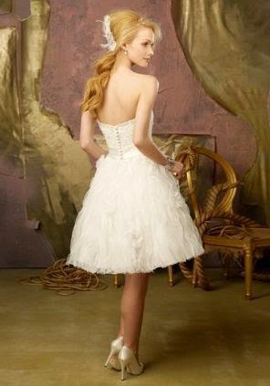 Vestido de Novia Corto Escote Corazon con Cinturon y Falda con Listones