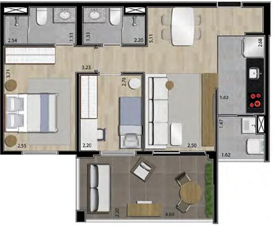 planta apartamento paulista 2 dormitórios