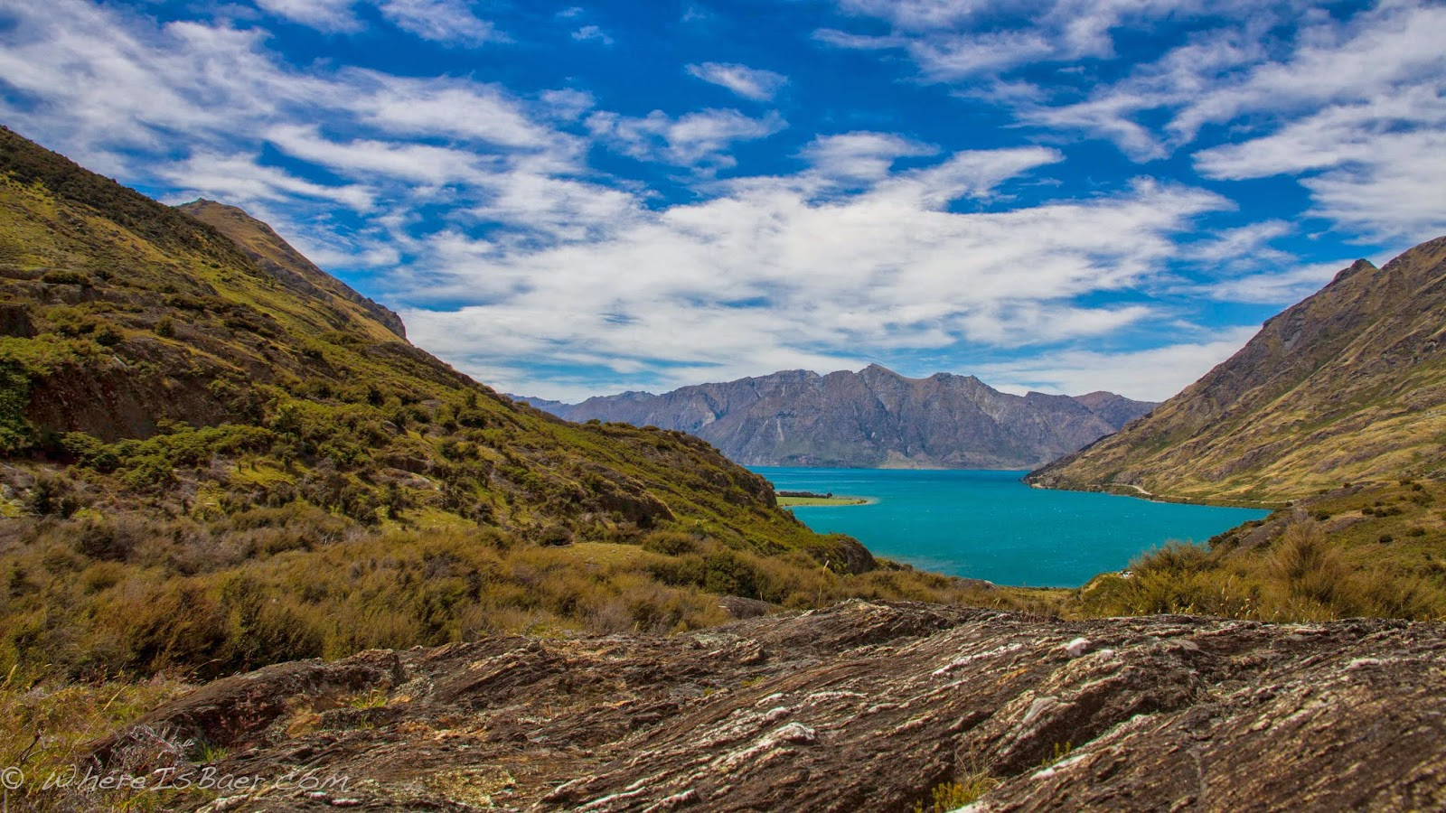 Looking back at Lake Hawea, New Zealand, Chris Baer