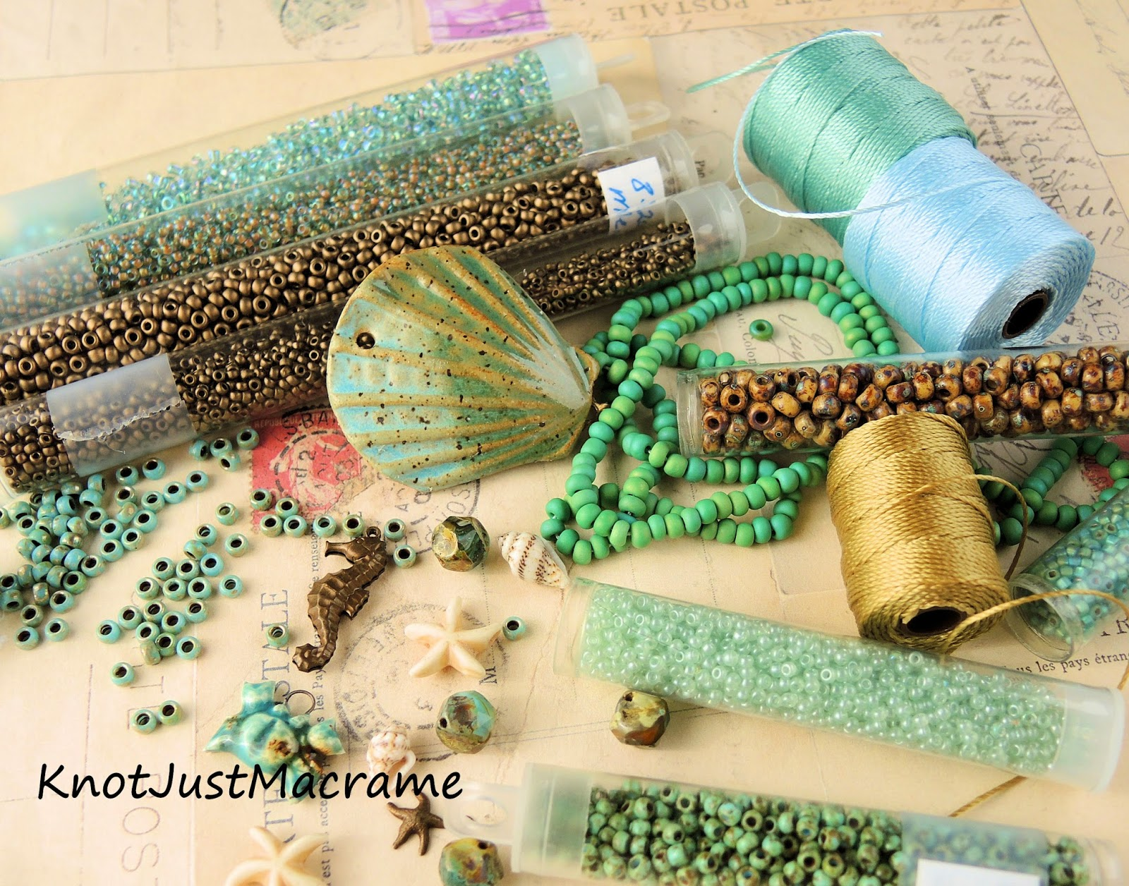 Cord and bead palette in sage green and blue and bronze