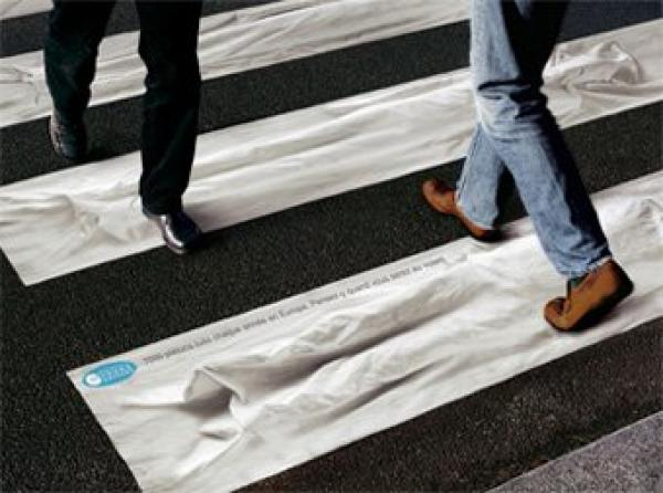 Ads on pedestrian crossings