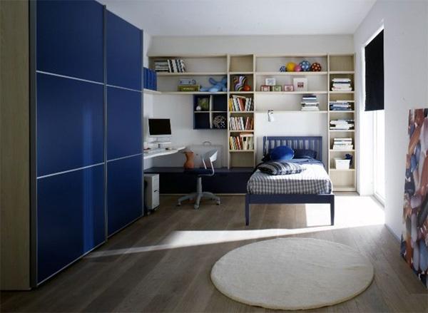 de decoraci?n de dormitorios juveniles estilo moderno en color azul