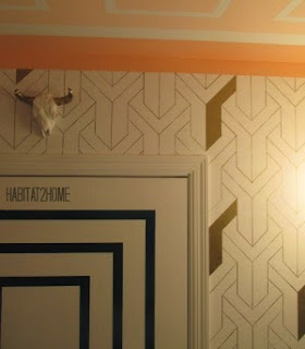Stacked Tumbling Block Pattern Sharpie Wallpaper in Gold