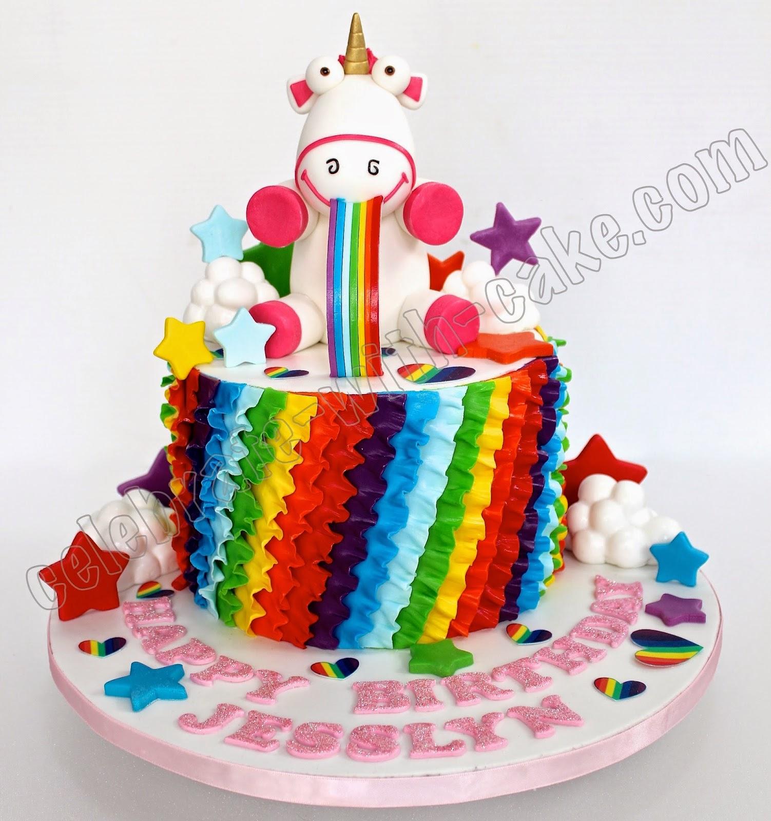 Celebrate With Cake Unicorn Rainbow Puke