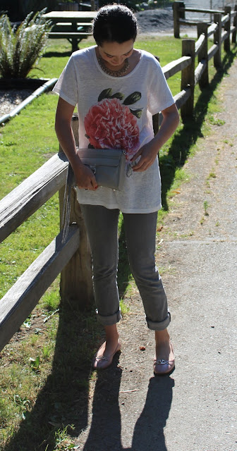 J.Crew Peony Linen Tee, Grey 7 For All Mankind Jeans, Rebecca Minkoff Mini MAC in Soft Grey, Valentino Balet Flats, Vintage Necklace, Essie Nail Polish in Plumberry