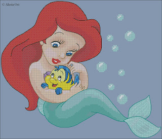 Free cross-stitch patterns, Baby Ariel, Ariel, princess, The Little Mermaid, people, portrait, Flounder, fish, animal, Disney, cartoon, cross-stitch, back stitch, half stitch, quarter stitch, cross-stitch scheme, free pattern, x-stitchmagic.blogspot.it, вышивка крестиком, бесплатная схема, punto croce, schemi punto croce gratis, DMC, blocks, symbols