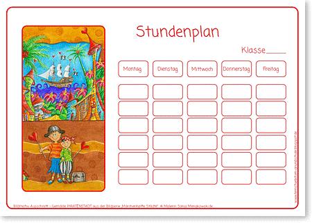 Stundenplan - Piraten - Format DIN A4 - Grundschule