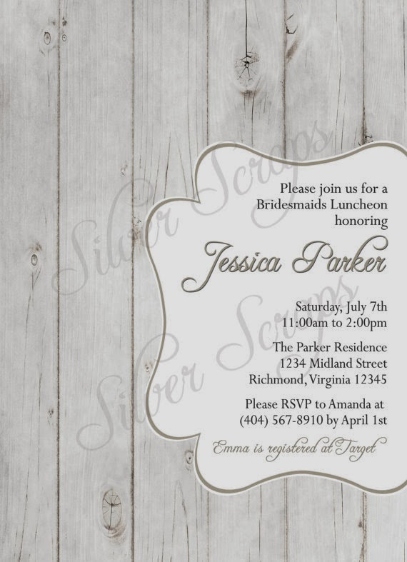 Rustic Woodgrain - Custom Bridal, Baby Shower, or Bridesmaids Luncheon Invitation - Brown Pink Rose White Grey Yellow Wood - 5 DIY Designs