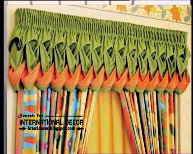 Unique window valances, orange and green curtain valance, stylish window treatments