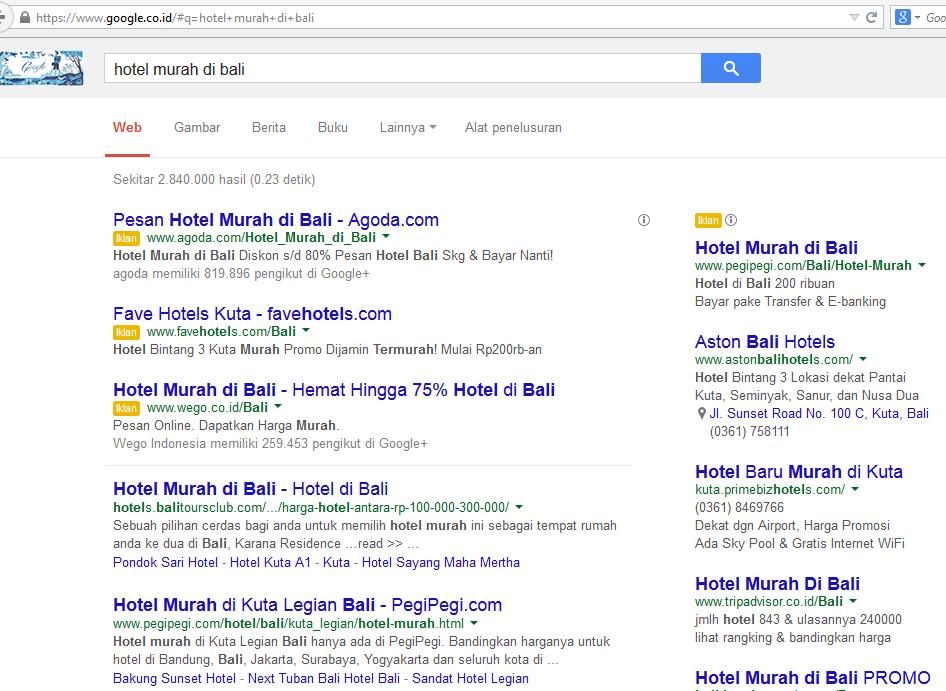 Example: Keyword Hotel Murah di Bali