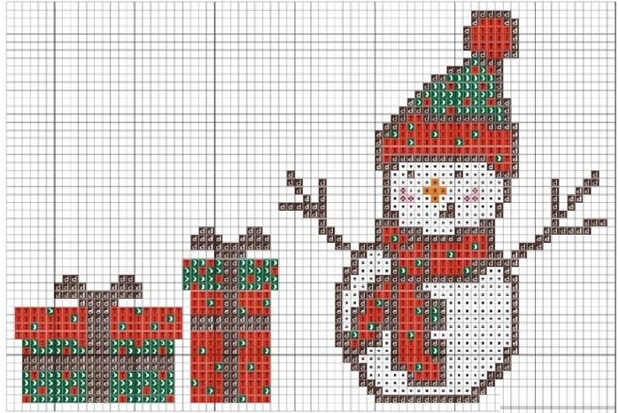 Схема вышивки снеговика